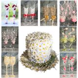 Collage with wedding glasses and flower hat Stock Photos