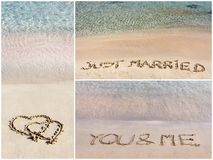 Collage of wedding messages written on sand Royalty Free Stock Images