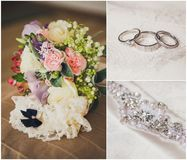 Collage from wedding photos, bridal accessories Stock Images