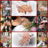 Collage from wedding photos. Nine in one Stock Photos