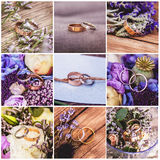Collage of wedding rings Royalty Free Stock Photo