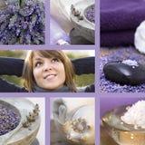 Collage Wellneßkonzept mit Lavendel lizenzfreies stockfoto