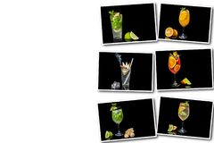 Collage on white background different alcoholic cocktail. With fruits and ice on a black background stock photo