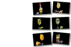 Collage on white background different alcoholic cocktail. With fruits and ice on a black background royalty free stock image