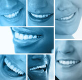 Collage of white smiles in blue tint. On white background Stock Images