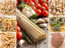 Collage of whole wheat italian pasta. With garlic and herbs on wood stock photography