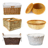 Collage with wickered baskets royalty free stock photos