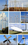 Collage wind turbines and wind energy Royalty Free Stock Photo