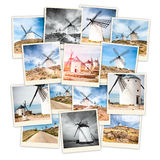 Collage windmills Stock Photo