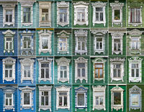 Collage of windows with architraves Rostov  the Stock Images
