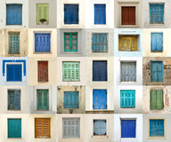 Collage of windows from greece Royalty Free Stock Image