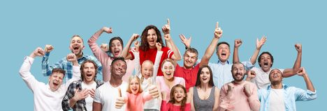 Collage of winning success happy men and women celebrating being a winner. Dynamic image of caucasian male and female models on blue studio background. Victory royalty free stock images