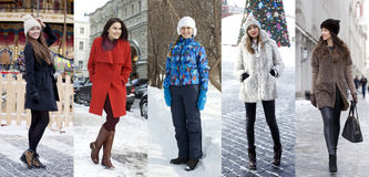 Collage winter fashion. Young beautiful women Royalty Free Stock Photos
