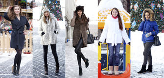 Collage winter fashion. Young beautiful women Royalty Free Stock Images