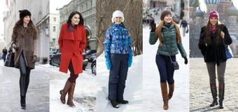 Collage winter fashion. Young beautiful women Royalty Free Stock Photo