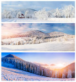 Collage of winter landscapes Royalty Free Stock Photos