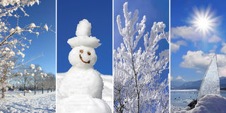 Collage - Wintertime: wintry landscape, snowman, snow covered br. Anches, sunburst on frosty lake Stock Photo