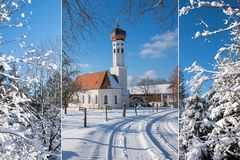 Collage - wintry landscape and village church Stock Photos