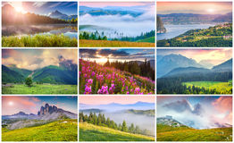 Free Collage With 9 Colorful Summer Landscapes. Royalty Free Stock Photo - 52176615