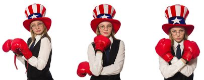 The collage with woman and american hat. Collage with woman and american hat royalty free stock photography