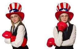 The collage with woman and american hat. Collage with woman and american hat stock image