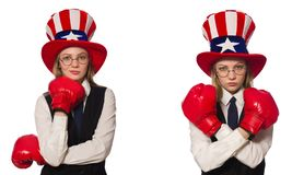 The collage with woman and american hat. Collage with woman and american hat royalty free stock images