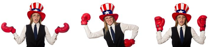 The collage with woman and american hat. Collage with woman and american hat stock photography