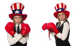 The collage with woman and american hat. Collage with woman and american hat stock photo