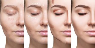 Collage of woman applying makeup step by step. royalty free stock photos