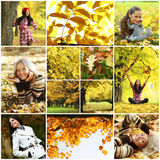 Collage woman in autumn park Royalty Free Stock Photo