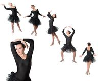 Collage of woman ballerina dancer standing pose Royalty Free Stock Photo