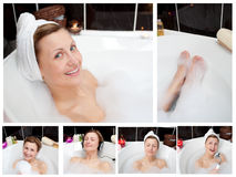 Collage of a woman in a bathtube Royalty Free Stock Photos