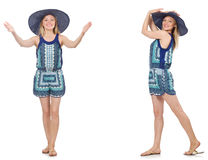 The collage of woman in blue dress and panama on white Royalty Free Stock Image