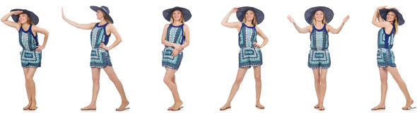 The collage of woman in blue dress and panama on white Stock Photo