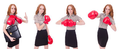 The collage of woman businesswoman with boxing gloves on white Stock Photo