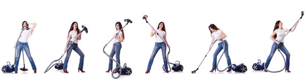 Collage of woman cleaning with vacuum cleaner Royalty Free Stock Images