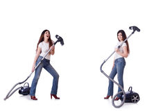 Collage of woman cleaning with vacuum cleaner Royalty Free Stock Image