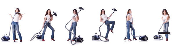 Collage of woman cleaning with vacuum cleaner Royalty Free Stock Photography