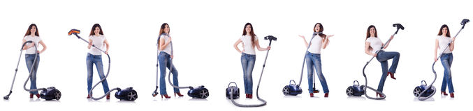 Collage of woman cleaning with vacuum cleaner Stock Photos