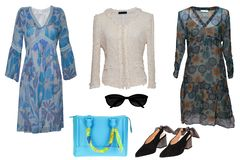 Collage woman clothes. Set of stylish and luxurious trendy women dresses, blouse, shoes. Blue handbag and accessories isolated on. A white background. Latest royalty free stock photo