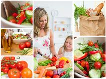 Collage of woman cutting vegetables with her daughter Stock Photo