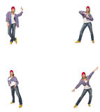 The collage of woman dancing isolated on white Stock Photo