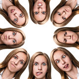 Collage of woman with different emotions Royalty Free Stock Images