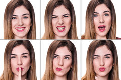 Collage of woman with different expressions Stock Images