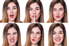 Collage of woman with different expressions Royalty Free Stock Photo