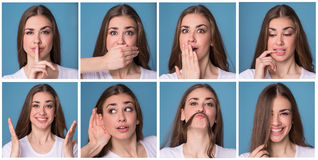 Collage of woman with different facial expressions. Royalty Free Stock Photos