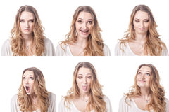 Collage of woman different facial expressions Royalty Free Stock Photo