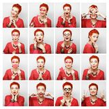 Collage of woman different facial expressions. Stock Photos