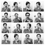 Collage of woman different facial expressions. Stock Photo