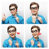 Collage of woman different facial expressions. Royalty Free Stock Photography